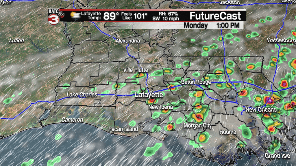 Scattered showers/storms continue into work week