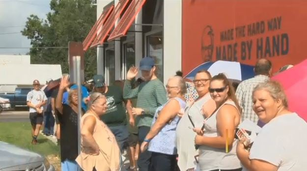 Line outside of the new KFC August 21, 2018, in Jennings, Louisiana. (Photo courtesy of KPLC)