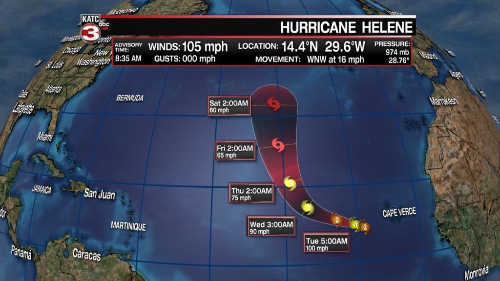 Hurricane Helene track