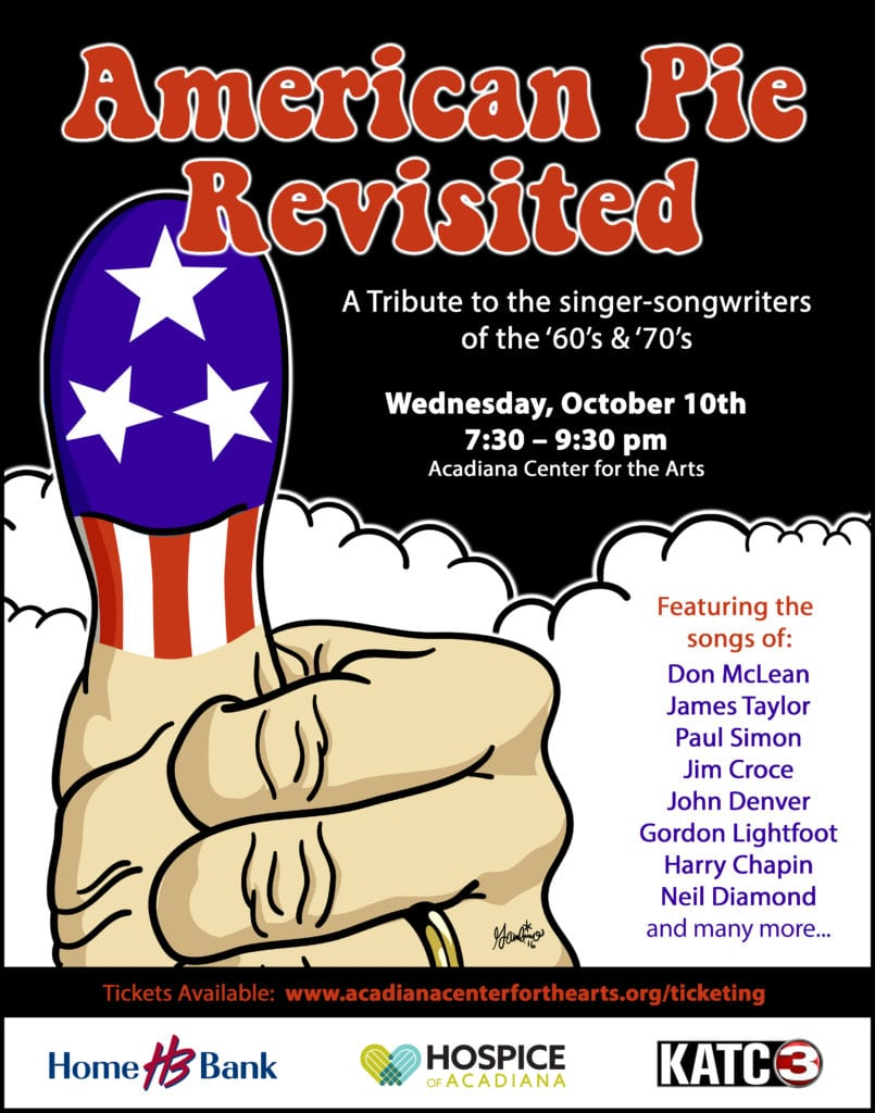 The concert is scheduled for Wednesday, October 10th at 7:30 p.m at the Acadiana Center for the Arts. T