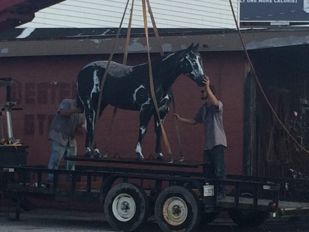 Cal's Western Store iconic horse leaving his home of 58 years today to be restored and then moved to greener pastures at Moncus Park.