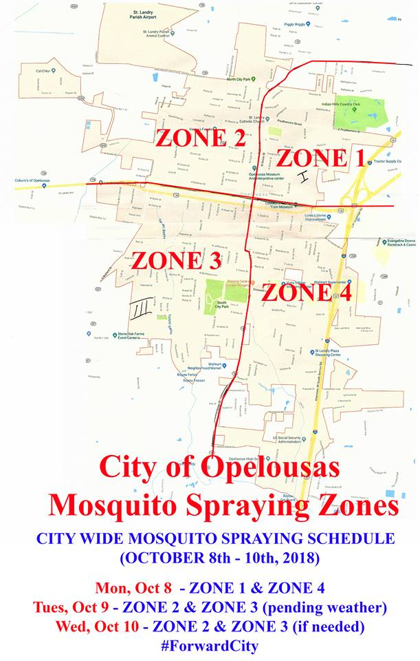 Map of Opelouas Mosquito Abatement