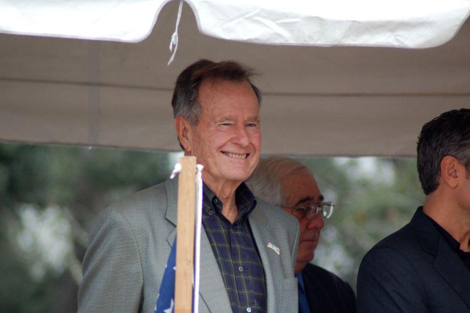 Former President George H.W. Bush in Cameron Parish (2005) (PHOTO: Alan DesOrmeaux)