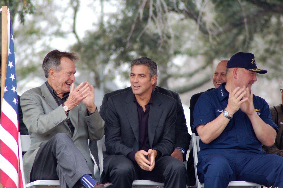 Former President George H.W. Bush in Cameron Parish with actor George Clooney dedicating money to rebuild South Cameron Memorial Hospital following Hurricane Rita. (PHOTO: Alan DesOrmeaux)