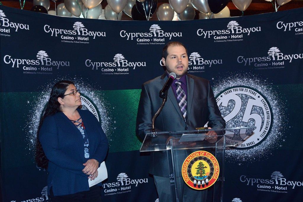 The event featured a special cake-cutting ceremony, the introduction of a new General Manager and CEO of Cypress Bayou Casino Hotel, and a special media briefing of local economic impact.