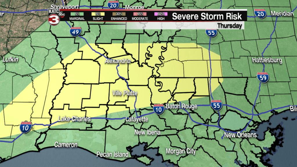 Showers and severe weather possible Thursday