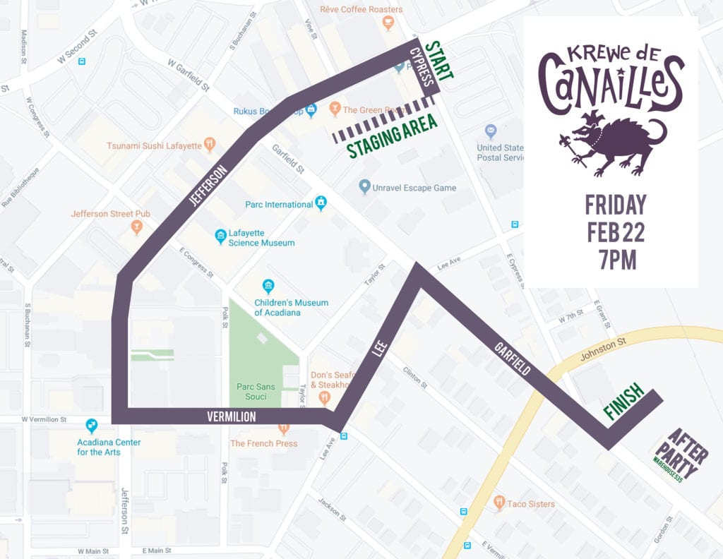Krewe de Canailles walking parade new route