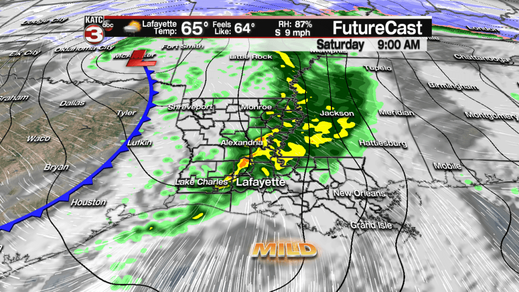 Spring-like/showers and storms early Saturday