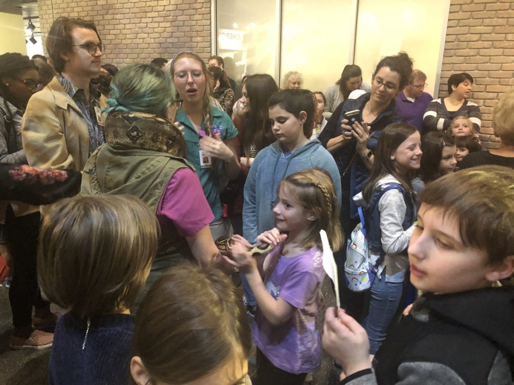 crowd at Lafayette Science Museum for snake wedding
