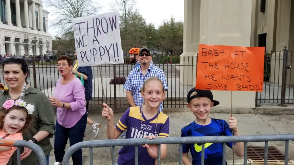 parade crowd at Krewe des Chiens