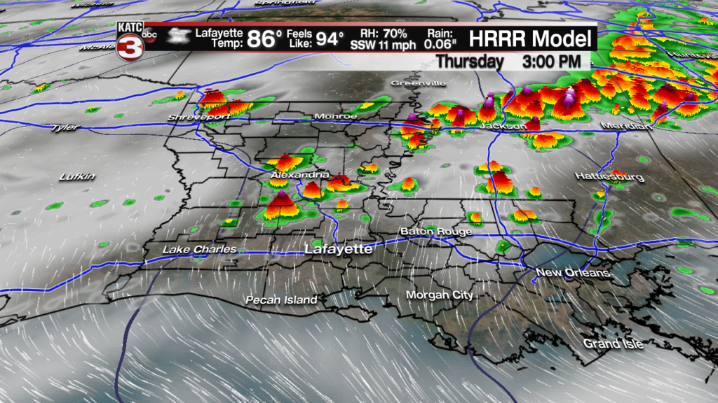 """Acadiana stays in """"on and off"""" stormy pattern through Saturday"""