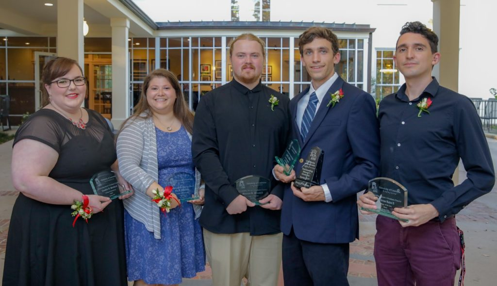 Photo caption: UL Lafayette's Spring 2019 Outstanding Master's Graduate Award finalists are, from left, Chandler G. Steckbeck, Eva Lieberman, Brennan Brunsvik, Jacob LeBlanc and Manuel Guillermo Rojas Ahumada. LeBlanc is the overall award winner. (Photo credit: Rachel Keyes / University of Louisiana at Lafayette)