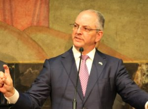 Gov. John Bel Edwards spoke in support of the Veterans First Business Initiative at a press event for Central Louisiana business development at the State Capitol on May 22, 2019. (Photo Credit: Madeline Meyer / LSU Manship School News Service)