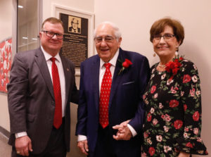 Photo caption:Dr. Joseph Savoie, left, president of the University of Louisiana at Lafayette, greets Raymond Blanco and former Gov. Kathleen Babineaux Blanco at a ceremony Friday dedicating the Raymond S. Blanco Dean of Students Suite. (Photo credit:Doug Dugas / University of Louisiana at Lafayette)