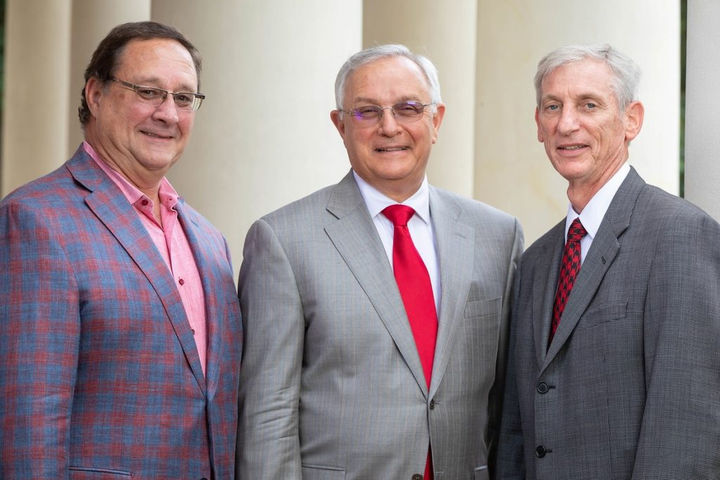 Photo: New officers of the UL Lafayette Foundation board of trustees are, from left: Bryan Hanks, secretary/treasurer; Joseph Giglio, Jr., chairman; and Tommy Kreamer, vice chairman.