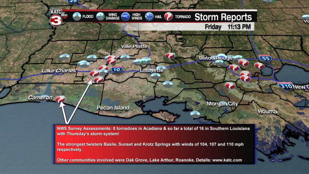 National Weather Service post-storm assessment: 8 tornadoes