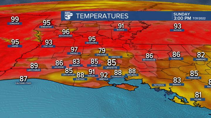 Current Acadiana Temperatures