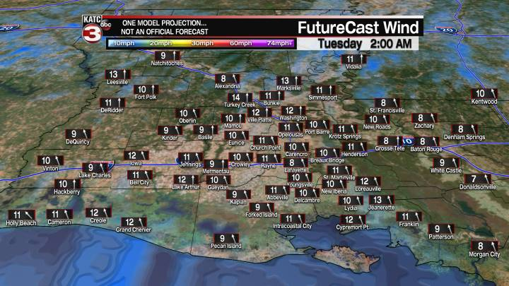 Acadiana 13 Hour Wind Forecast