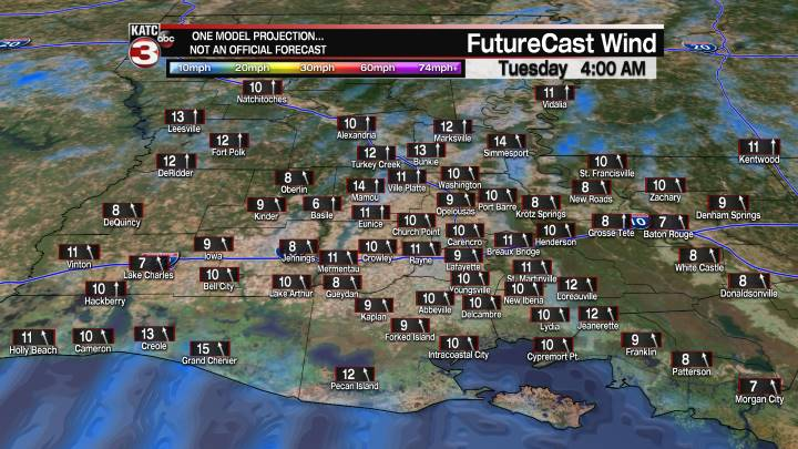 Acadiana 15 Hour Wind Forecast