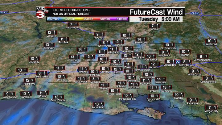 Acadiana 16 Hour Wind Forecast