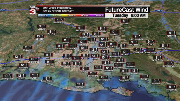 Acadiana 17 Hour Wind Forecast