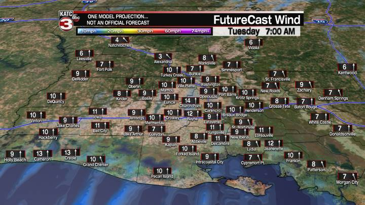 Acadiana 18 Hour Wind Forecast
