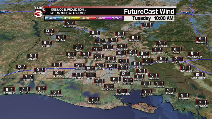 Acadiana 21 Hour Wind Forecast