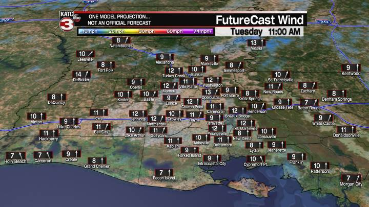 Acadiana 22 Hour Wind Forecast