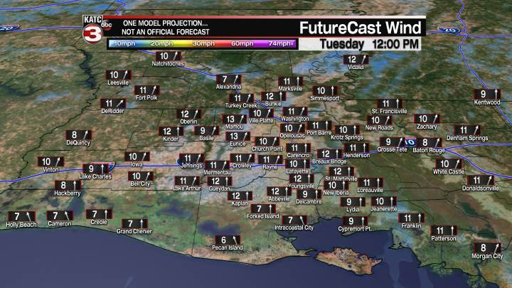 Acadiana 23 Hour Wind Forecast