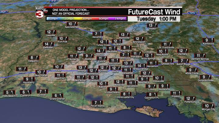 Acadiana 24 Hour Wind Forecast