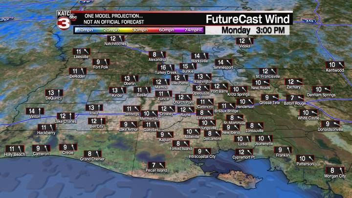 Acadiana 3 Hour Wind Forecast