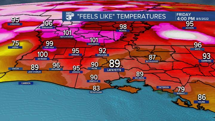 "Acadiana ""Feels Like"" (Wind Chill or Heat Index) Temperatures"