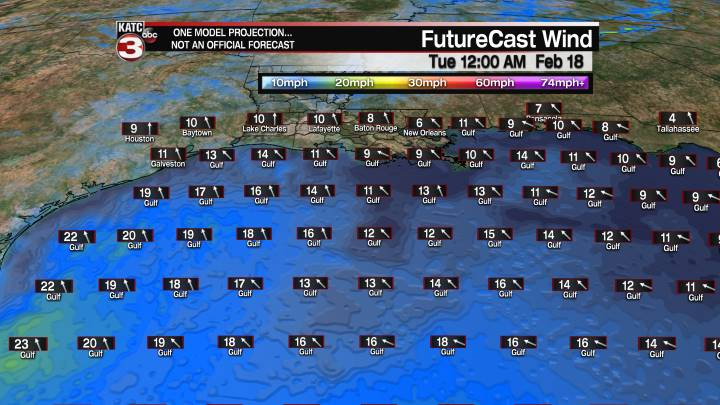 FutureCast 12 Hour Offshore Winds