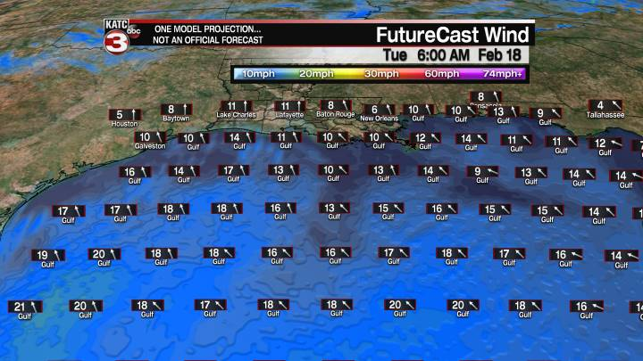 FutureCast 18 Hour Offshore Winds