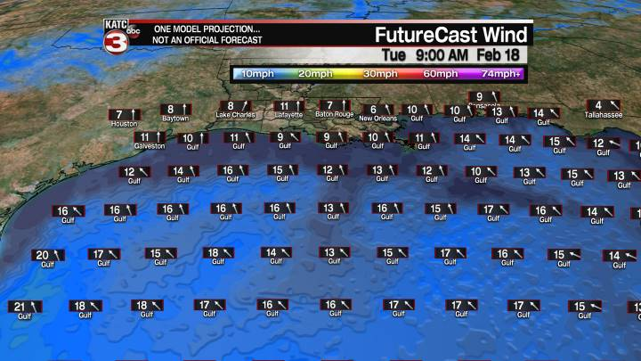 FutureCast 21 Hour Offshore Winds