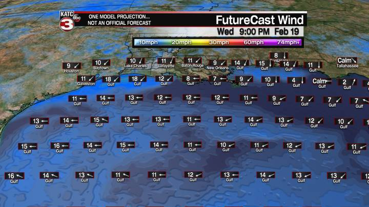 FutureCast 57 Hour Offshore Winds